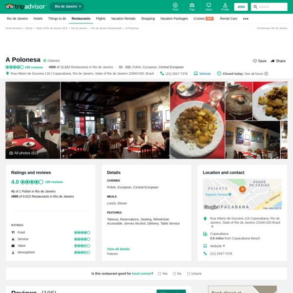 A Polonesa, Rio de Janeiro - Copacabana - Restaurant Reviews, Photos & Phone Number - TripAdvisor
