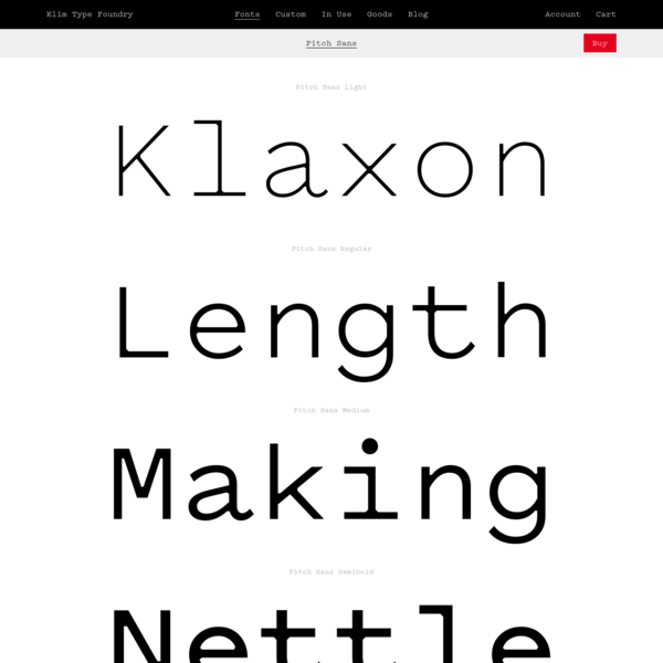 Klim Type Foundry · Pitch Sans Fonts