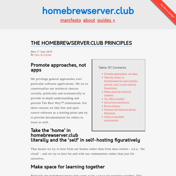 The homebrewserver.club principles