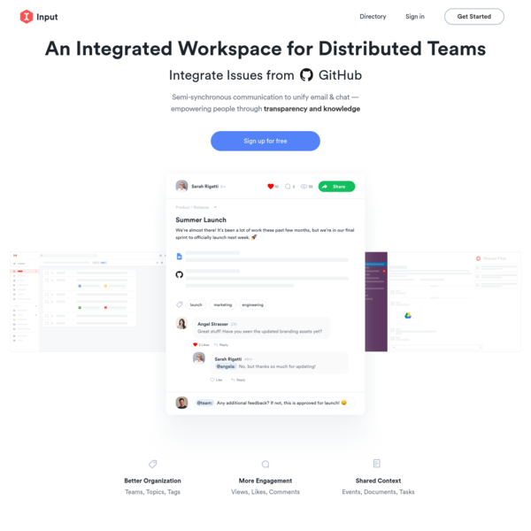 Input: An Integrated Wiki for Teams