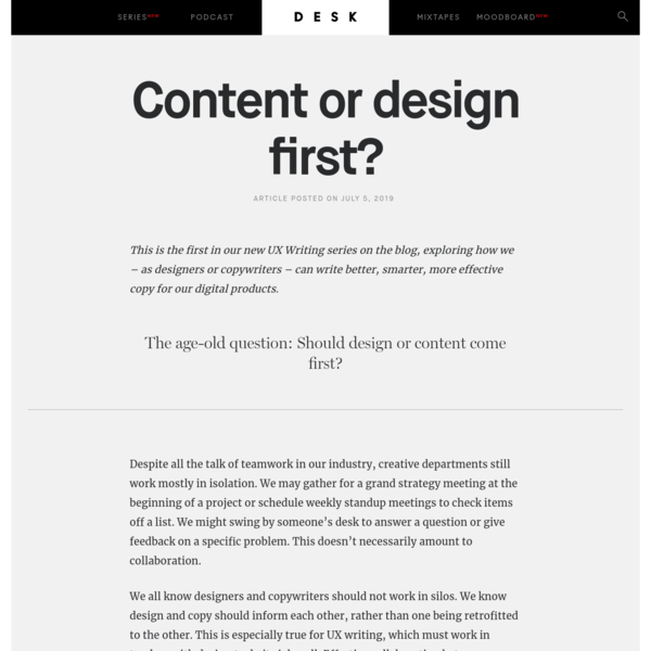 Content or design first? - DESK Magazine