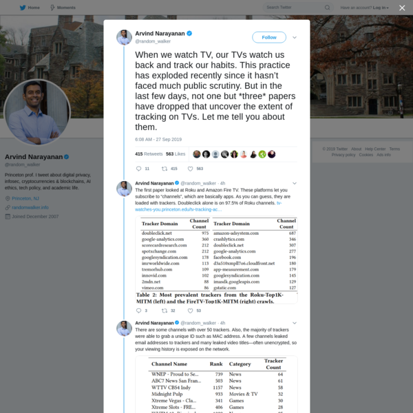 Arvind Narayanan on Twitter