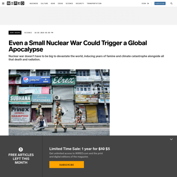Even a Small Nuclear War Could Trigger a Global Apocalypse