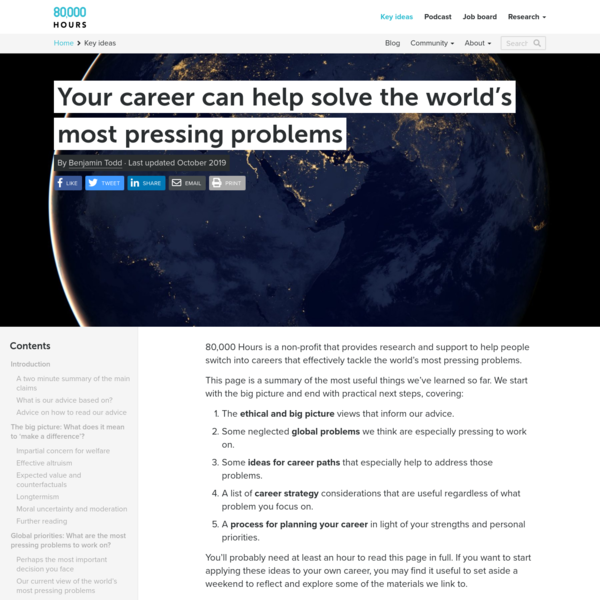 Your career can help solve the world's most pressing problems