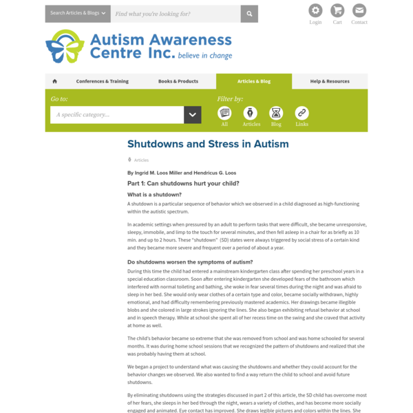 Shutdowns and Stress in Autism - Autism Awareness