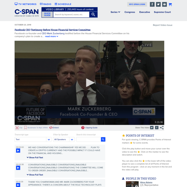 Zuck Testifies Before House Financial Services Committee
