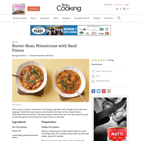 Butter-Bean Minestrone with Basil Pistou - Recipe - FineCooking