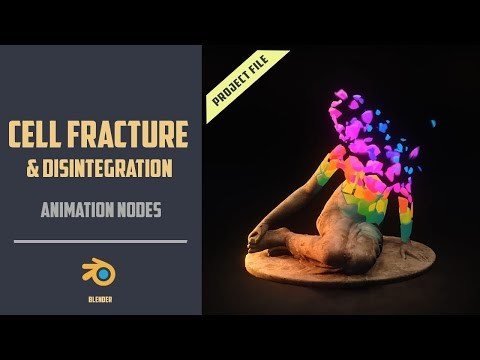 Cell fracture Disintegration & Rigid Dynamics with AnimationNodes [BLENDER 2.8]