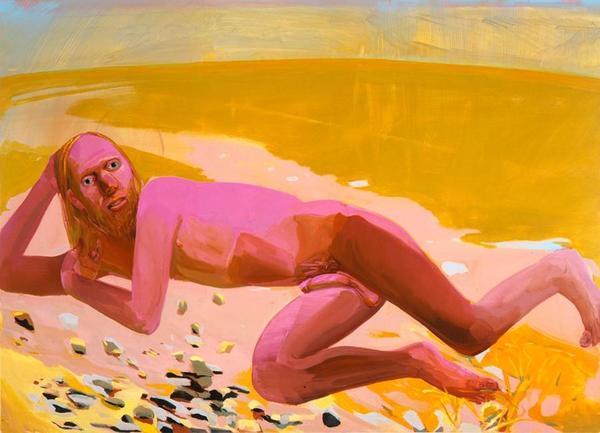 "Dana Schutz—""Reclining Nude"" 2002 Oil on canvas 48 x 66 inches http://artforum.com/words/id=43489"