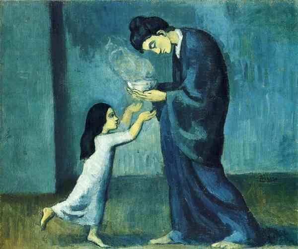 """""""La Soupe (The Soup)""""  Pablo Picasso c. 1902 oil on canvas"""