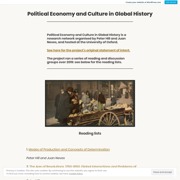 Political Economy and Culture in Global History