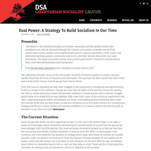 Dual Power: A Strategy To Build Socialism In Our Time