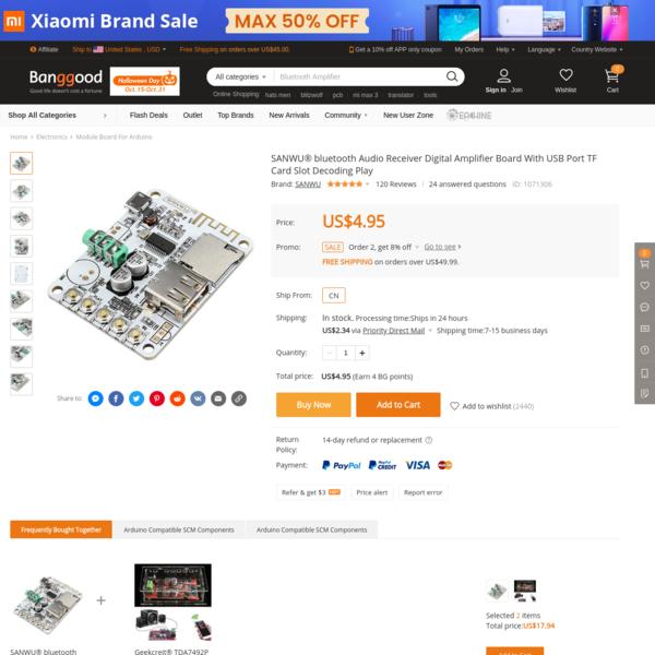 SANWU® bluetooth Audio Receiver Digital Amplifier Board With USB Port TF Card Slot Decoding Play Module Board For Arduino fr...