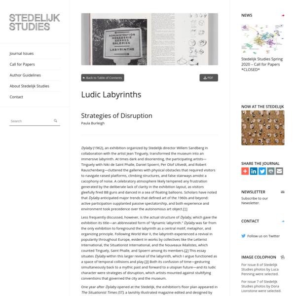 Ludic Labyrinths: Strategies of Disruption - Stedelijk Studies