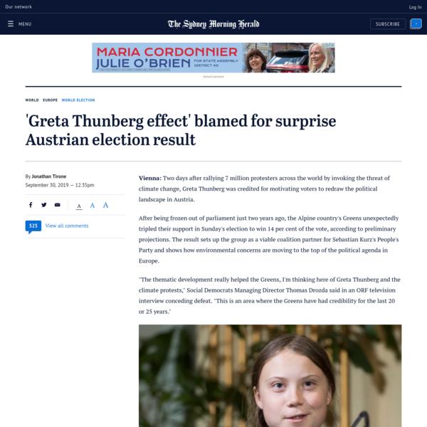 'Greta Thunberg effect' blamed for surprise Austrian election result