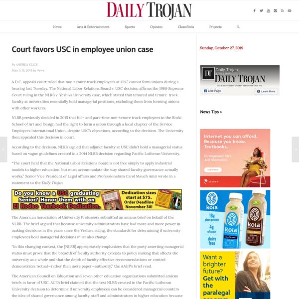 Court favors USC in employee union case | Daily Trojan