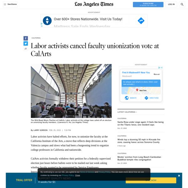 Labor activists cancel faculty unionization vote at CalArts