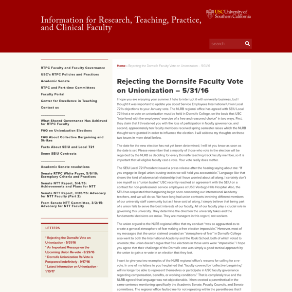 Rejecting the Dornsife Faculty Vote on Unionization - 5/31/16