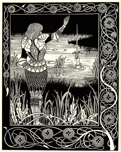 Aubrey Beardsley's evocative bookplate depiction of Bedevere casting Excalibur into the hands of the 'Dame Du Lac'. The Arthurian legends were a late survival of an important pagan mythic tradition among the Celts. Many of their legends extend into the heady days of the Belgic warbands, of whom the Thracian Scordisci were direct ancestors.
