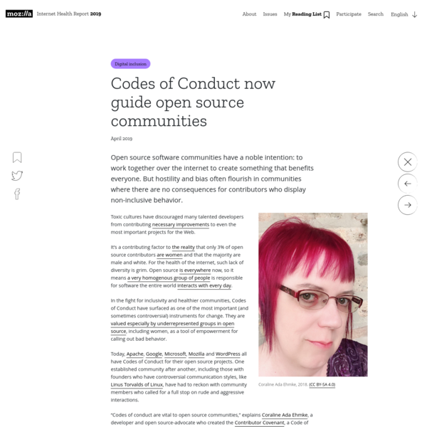 Codes of Conduct now guide open source communities - The Internet Health Report 2019