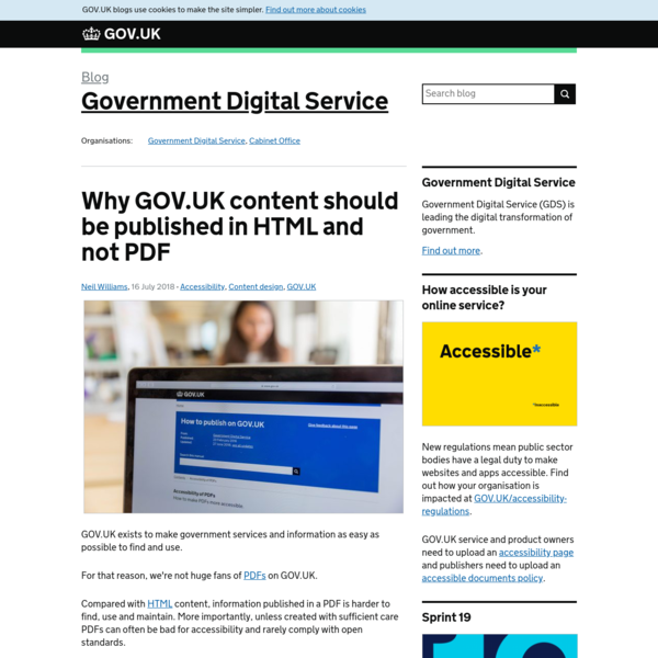 Why GOV.UK content should be published in HTML and not PDF