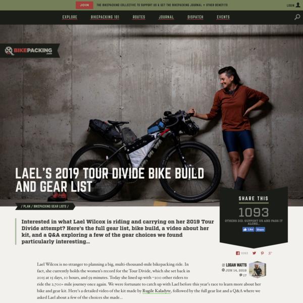 Lael's 2019 Tour Divide Bike Build and Gear List - BIKEPACKING.com