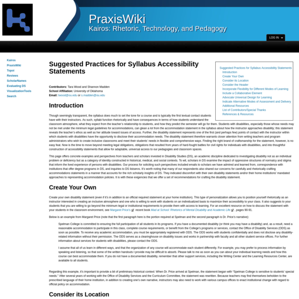 PraxisWiki | Suggested_Practices_for_Syllabus_Accessibility_Statements