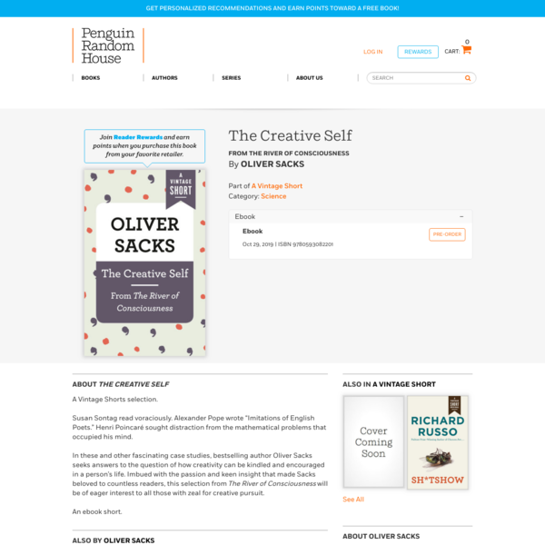 The Creative Self by Oliver Sacks: 9780593082201 | PenguinRandomHouse.com: Books