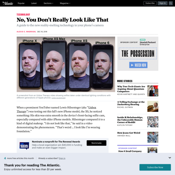 Why Your iPhone Selfies Don't Look Like Your Face - The Atlantic