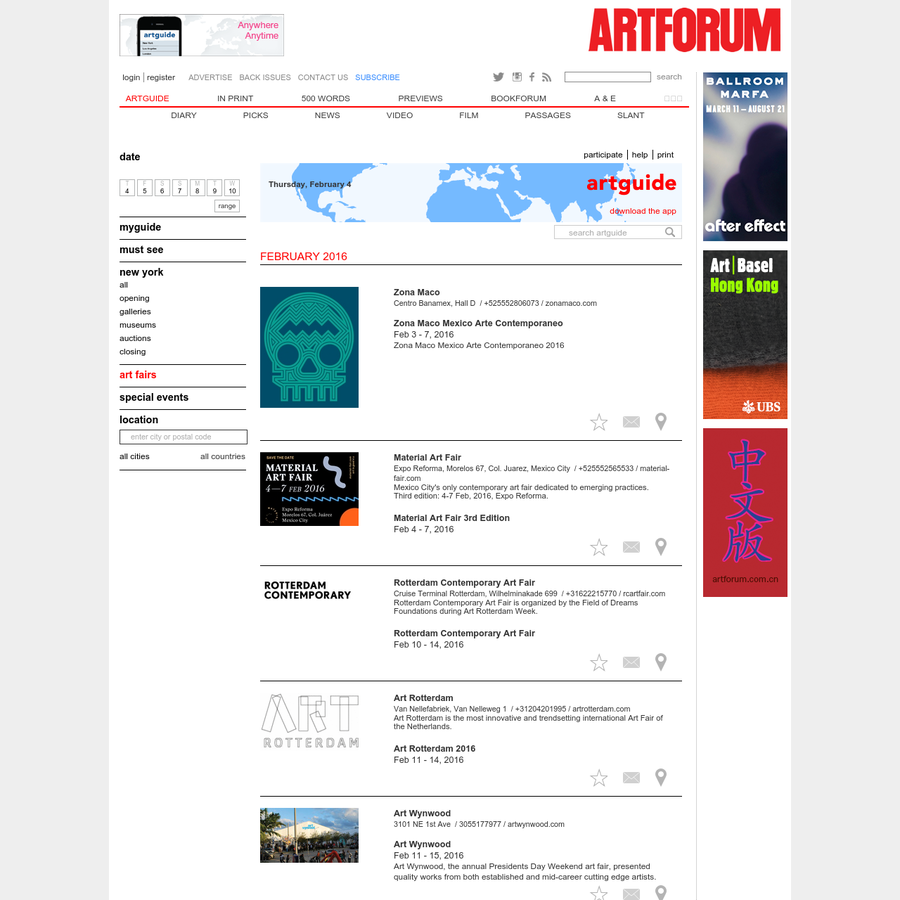 The online edition of Artforum International Magazine.