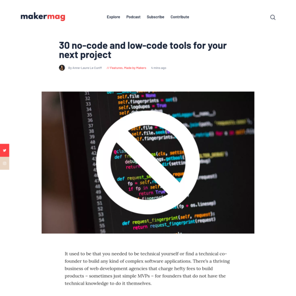 30 no-code and low-code tools for your next project