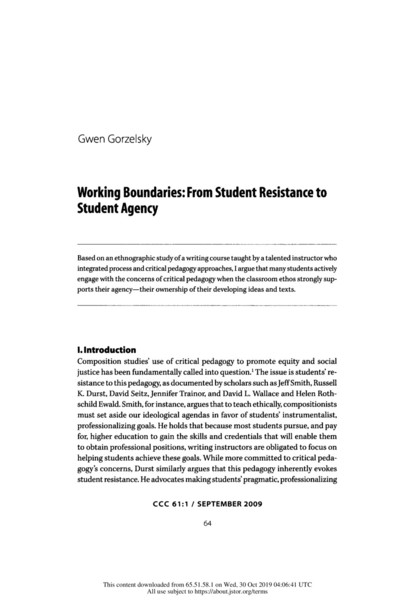 Working Boundaries: From Student Resistance to Student Agency