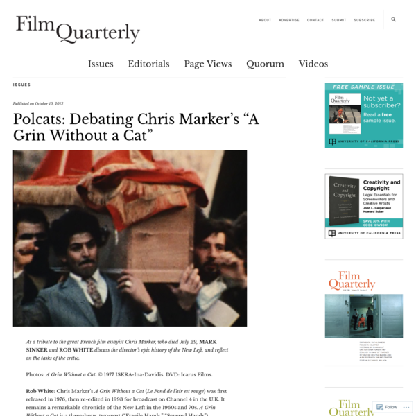 """Polcats: Debating Chris Marker's """"A Grin Without a Cat"""""""