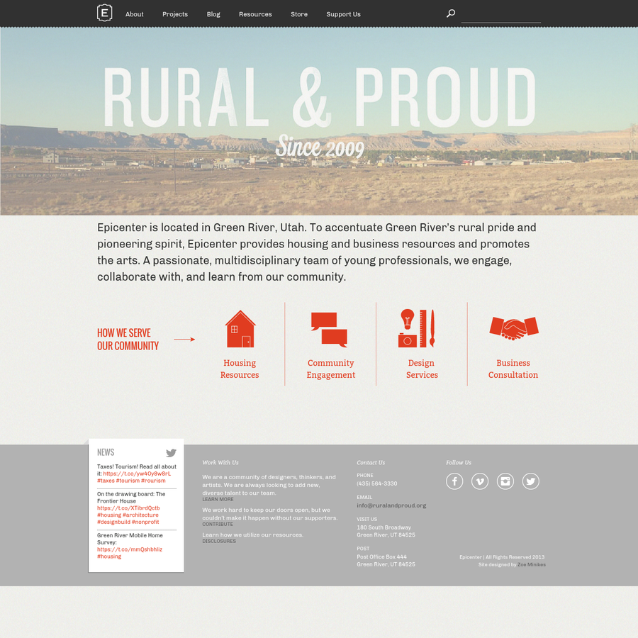 Epicenter is located in Green River, Utah. To accentuate Green River's rural pride and pioneering spirit, Epicenter provides housing and business resources and promotes the arts. A passionate, multidisciplinary team of young professionals, we engage, collaborate with, and learn from our community.
