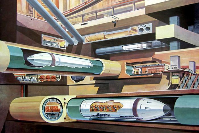 Tube trains under city, Klaus Burgle, 1969