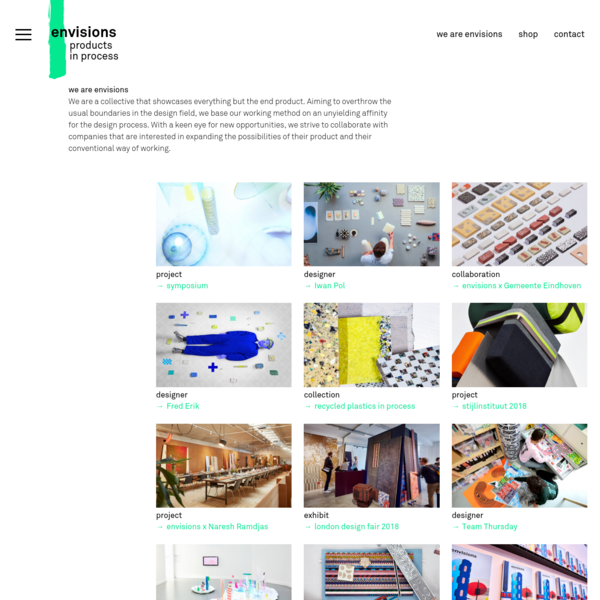envisions - the design collective - products in process