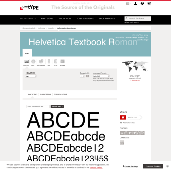 Helvetica® Textbook Roman Font - Licensing Options | Linotype.com
