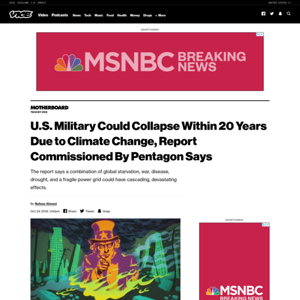 U.S. Military Could Collapse Within 20 Years Due to Climate Change, Report Commissioned By Pentagon Says