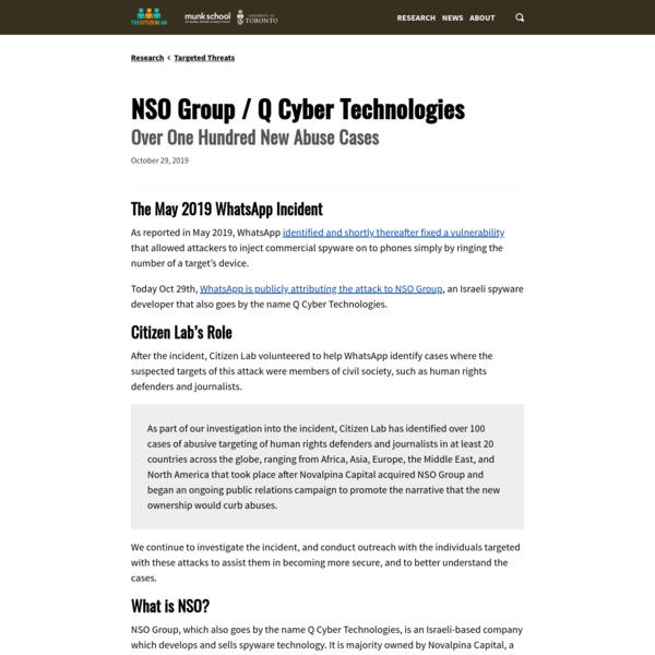 NSO Group / Q Cyber Technologies: Over One Hundred New Abuse Cases - The Citizen Lab