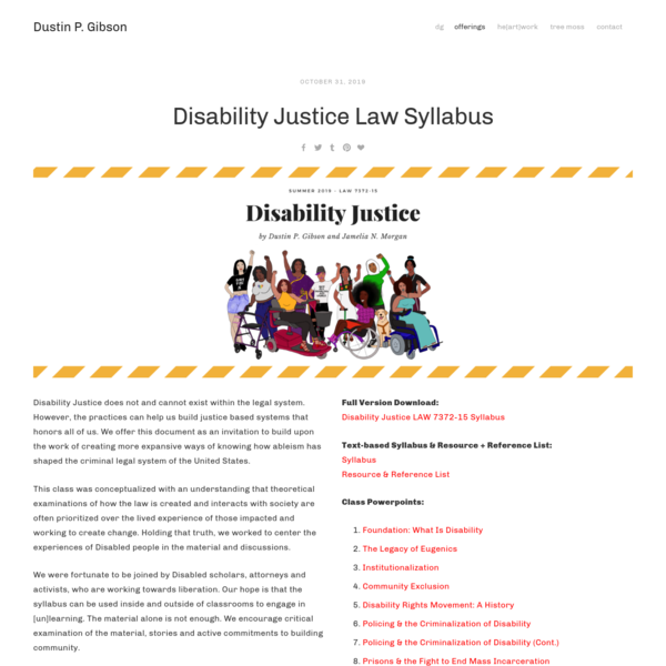 Disability Justice Law Syllabus - Dustin P. Gibson