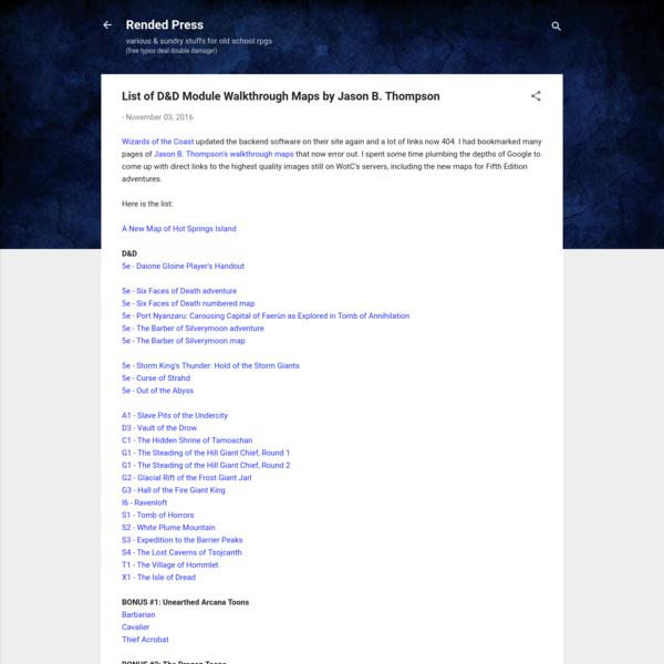 List of D&D Module Walkthrough Maps by Jason B. Thompson