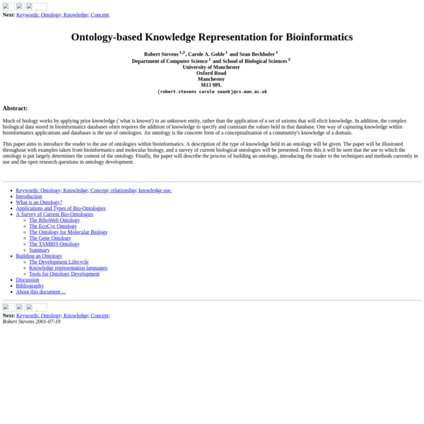 Ontology-based Knowledge Representation for Bioinformatics