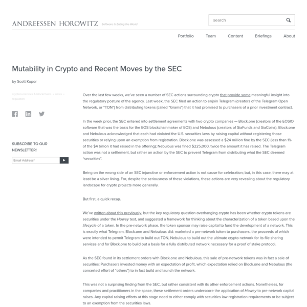 Mutability in Crypto and Recent Moves by the SEC