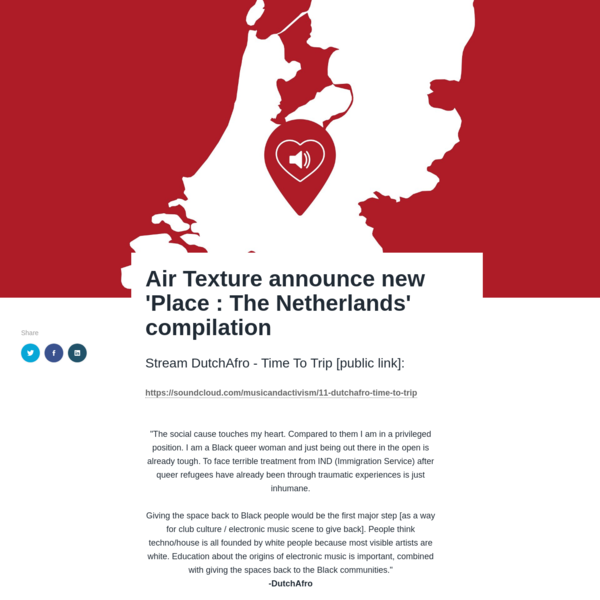 Air Texture announce new 'Place : The Netherlands' compilation