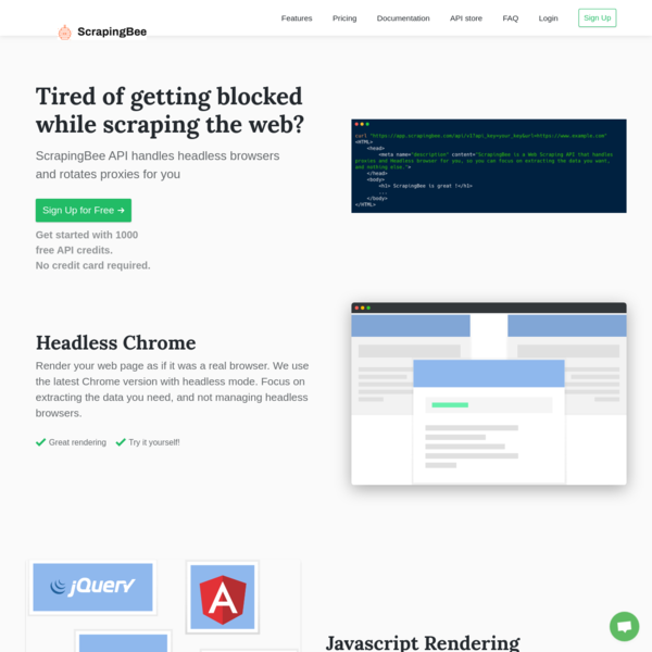 ScrapingBee - (Formerly ScrapingNinja) Web Scraping API