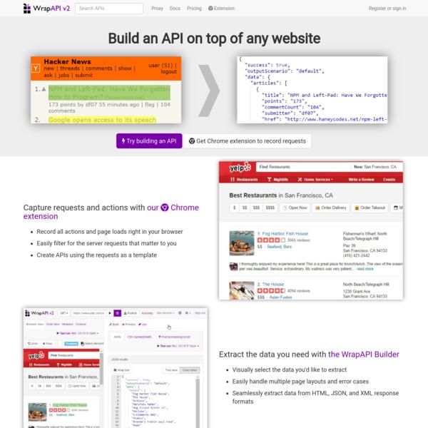 WrapAPI: APIs for the whole web