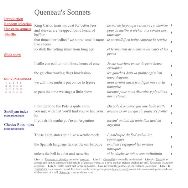 Queneau sonnets