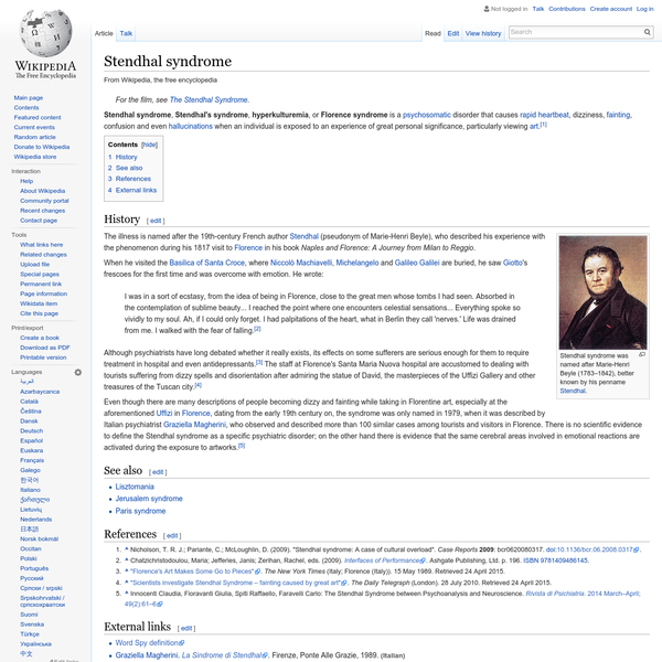 Stendhal syndrome - Wikipedia, the free encyclopedia