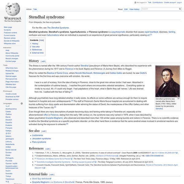 Stendhal syndrome - Wikipedia, the free encyclopedia