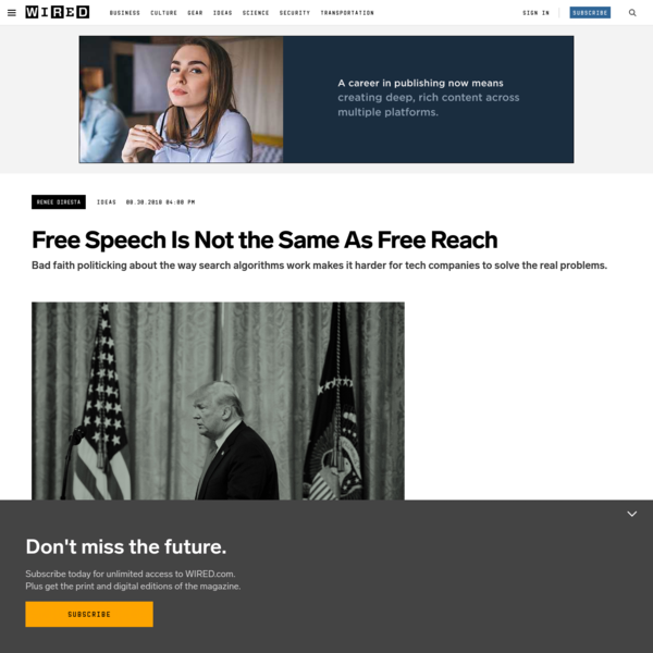 Free Speech Is Not the Same As Free Reach